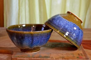 blue pottery rice bowls